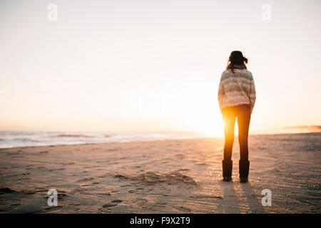 Back view of young woman standing on the beach in winter - Stock Photo