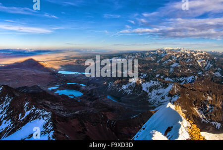 Bolivia, Cordillera Real, Aerial view of the Cordillera Real mountain range from the top of Huayna Potosi - Stock Photo