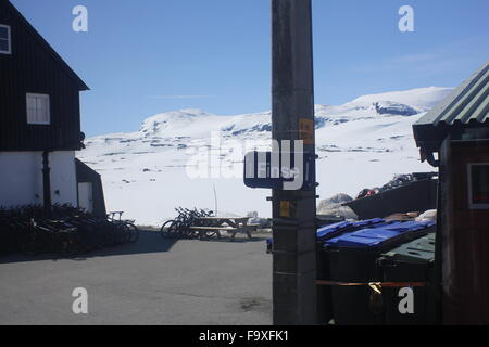 Finse train station sign in Norway on the train from Oslo to Myrdal - Stock Photo