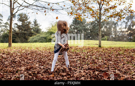 Little girl playing with autumn leaves on a meadow - Stock Photo