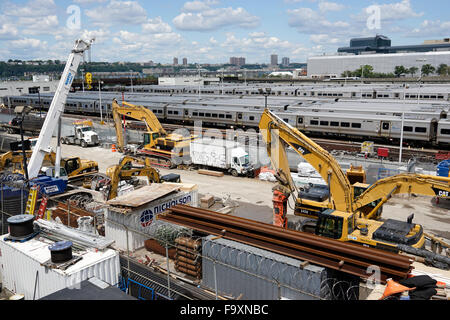View of West Side Rail Yard from High Line Park.New York City.USA - Stock Photo