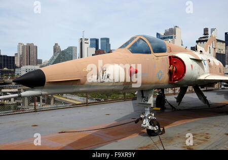 Israel Aircraft Industries Kfir C-2 display at the Intrepid aircraft carrier. the Intrepid Sea Air & Space Museum.New - Stock Photo