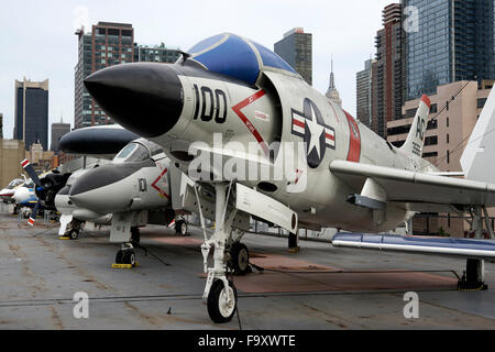 A McDonnell F-3 B Demon fighter Jet at the Intrepid aircraft carrier, the Intrepid Sea, Air & Space Museum,New York - Stock Photo