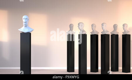 Bust standing out from the crowd, 3D Rendering - Stock Photo
