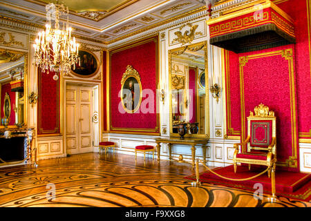 Interior of the Royal Castle in Warsaw - the Throne Room, Poland - Stock Photo