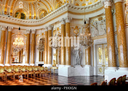 Interior of the Royal Castle in Warsaw - the The Great Assembly Hall (Ballroom), Poland - Stock Photo