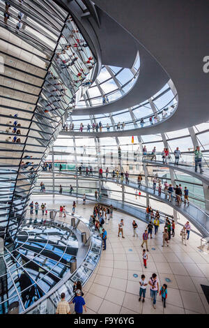 Germany, Berlin, Reichstag building, interior view of glas dome designed by Norman Foster with double-helix spiral - Stock Photo