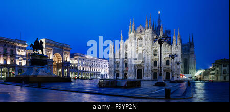 The city of Milan, the huge Duomo cathedral and the centre of the city. - Stock Photo