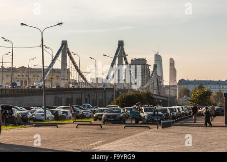 Moscow, Russia - September 25, 2015:  City artistic park Muzeon. View of Krymsky Bridge. - Stock Photo