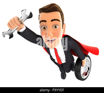 3d mechanic superhero with wrench and tyre, isolated white background - Stock Photo