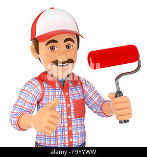 3d working people. Painter with brush roller and thumb up. Isolated white background. - Stock Photo