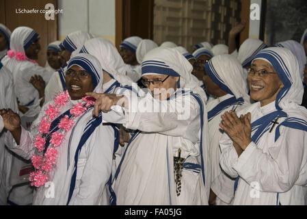 Mother Teresa sisters, Missionaries of Charity, lead sisters, mother house, Kolkata, India, Saint Teresa - Stock Photo