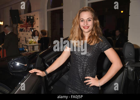 Munich, Germany. 18th Dec, 2015. Junior racing driver Sophia Floersch poses for photographers at the opening of - Stock Photo