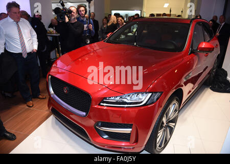 Munich, Germany. 18th Dec, 2015. A car on display at the opening of the first German Jaguar Land Rover Boutique - Stock Photo