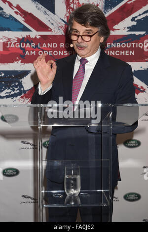 Munich, Germany. 18th Dec, 2015. Jaguar Land Rover CEO Ralf Speth delivers a speech at the opening of the first - Stock Photo