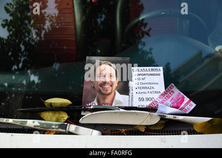 Madrid, Spain 19th December 2015: An election leaflet with the face of the leader of the Podemos Party Pablo Iglesias - Stock Photo
