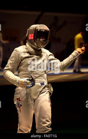 KYIV, UKRAINE - APRIL 13, 2012: Mariel Zagunis of USA fights during Womens Sabre Team match against USA at the World - Stock Photo