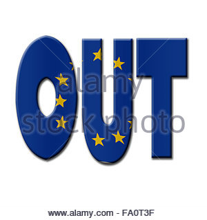 Digital Illustration - British In/Out EU referendum.  OUT with European Union flag. - Stock Photo