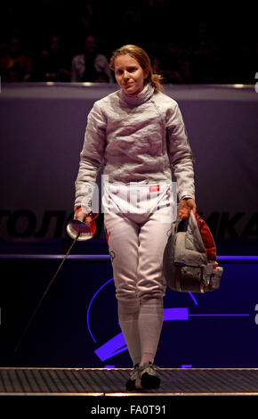 KYIV, UKRAINE - APRIL 13, 2012: Ekaterina Dyachenko of Russia reacts during Womens Sabre Team final match of the - Stock Photo