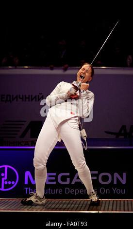 KYIV, UKRAINE - APRIL 13, 2012: Sofya Velikaya reacts after Russia beats of Ukraine during Womens Sabre Team final - Stock Photo