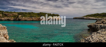 Panorama of Cala Sa Nau, Mallorca, Baleares, Spain - Stock Photo