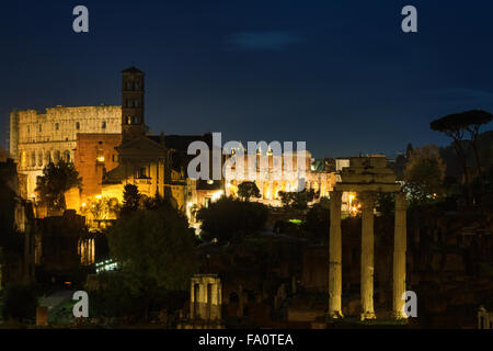 View over the Forum Romanum at night, Rome, Italy - Stock Photo