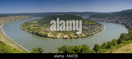 Great bow of the rhine river near Boppard, Germany - Stock Photo