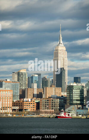 Scenic landscape view of the Midtown Manhattan skyline of New York City from the Hudson River on the New Jersey - Stock Photo