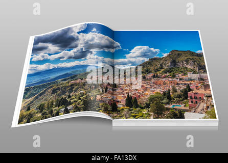 View on the town Taormina, Monte Tauro and Mount Etna, Province Messina, Sicily, Italy, Europe - Stock Photo