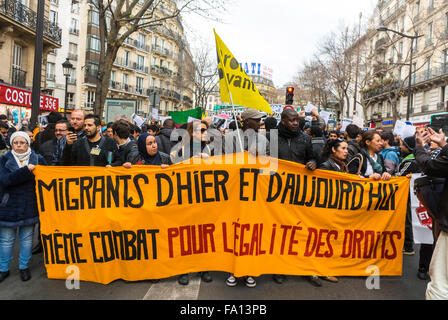 Paris, France. Crowd of NGO Activists, MArching in Support of Immigrants, Migrants, Refugees, 'Sans papiers' Demonstration, - Stock Photo