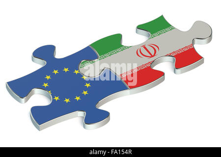 Iran and European Union puzzles from flags - Stock Photo