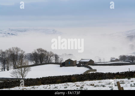 Misty snow covered landscape near Hawes in Wensleydale, North Yorkshire - Stock Photo