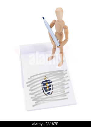 Wooden mannequin made a drawing of a flag - Massachusetts - Stock Photo