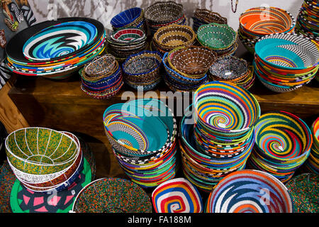 South Africa, Cape Town. Typical South African wire and beaded handicraft bowls. - Stock Photo