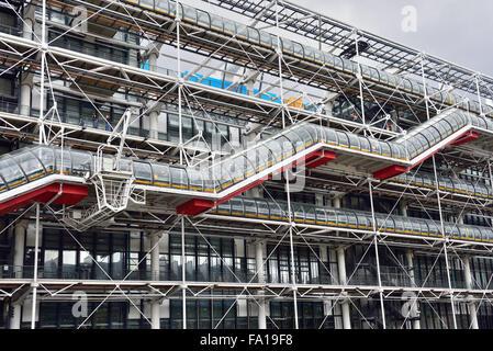 Covered outdoor staircase, Museum of Modern Art, Centre Pompidou, Marais, Paris, Ile De Fance, France - Stock Photo