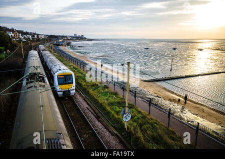 c2c is a British train operating company owned by Trenitalia running from London to Shoebury. Class 357 electric - Stock Photo