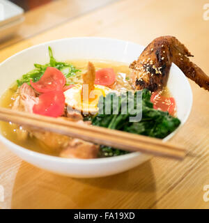 Japanese ramen noodles (roasted barley chicken) from Prairie Noodle Shop in Edmonton, Alberta, Canada. - Stock Photo