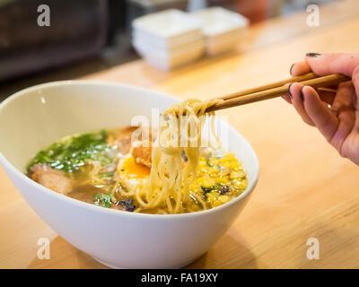 Japanese ramen noodles (prairie pork) from the Prairie Noodle Shop in Edmonton, Alberta, Canada. - Stock Photo
