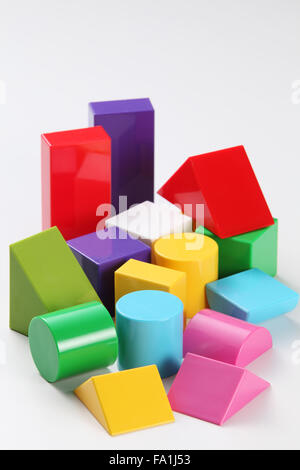 colorful building blocks isolated on white background - Stock Photo