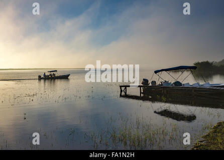 Tour boat at hazy Northern Lagoon at sunrise, Crooked Tree Wildlife Sanctuary, Belize District, Belize - Stock Photo