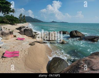 Along the beach in Lamai on Koh Samui island, Thailand - Stock Photo