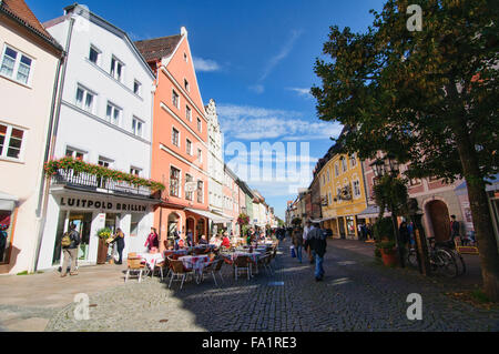 Scenes in the center of Old Town in Fussen, Germany - Stock Photo