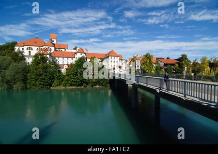Benedictine Abbey of St. Mang at the Lech River in Fussen, Germany - Stock Photo