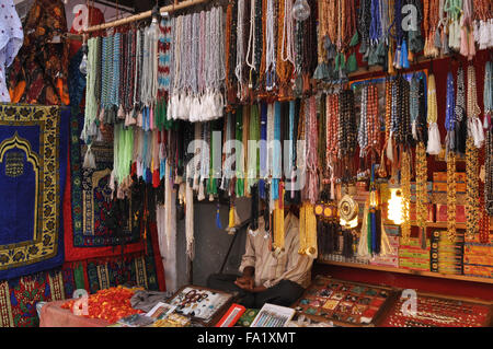 Beads and stones being sold at shrine market place of Ajmer Sharif Dargah,  Mausoleum of Moinuddin Chishti, an Indian - Stock Photo