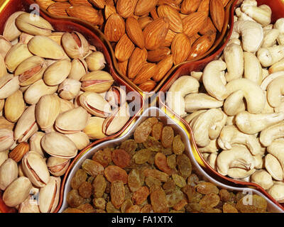 Delicious Healthy Mixed Dry Fruits, Cashew Nut and Pistachio - Stock Photo
