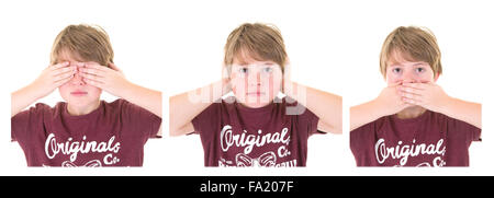 Young Boy shows three wise monkeys concept, Three Wise Monkeys, see no evil, hear no evil, speak no evil on a white - Stock Photo