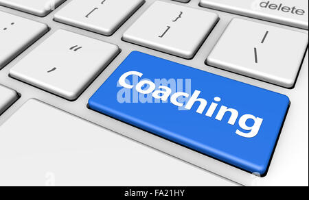 Training and life management concept 3d illustration with coaching sign and word on a blue computer key. - Stock Photo