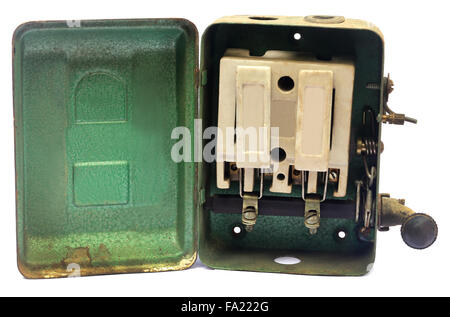 Old main switch over white background - Stock Photo