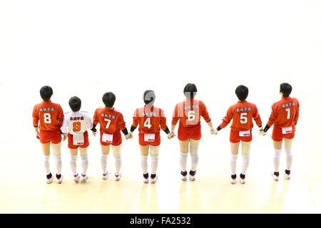 Tokyo, Japan. 18th Dec, 2015. Higashi Kyushu Ryukoku High School team group () Volleyball : 2015 Emperor's Cup and - Stock Photo