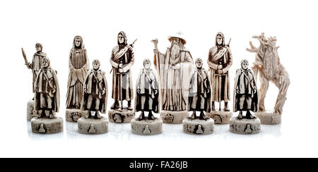 Lord Of The Rings Chess Set Figures on a white background - Stock Photo